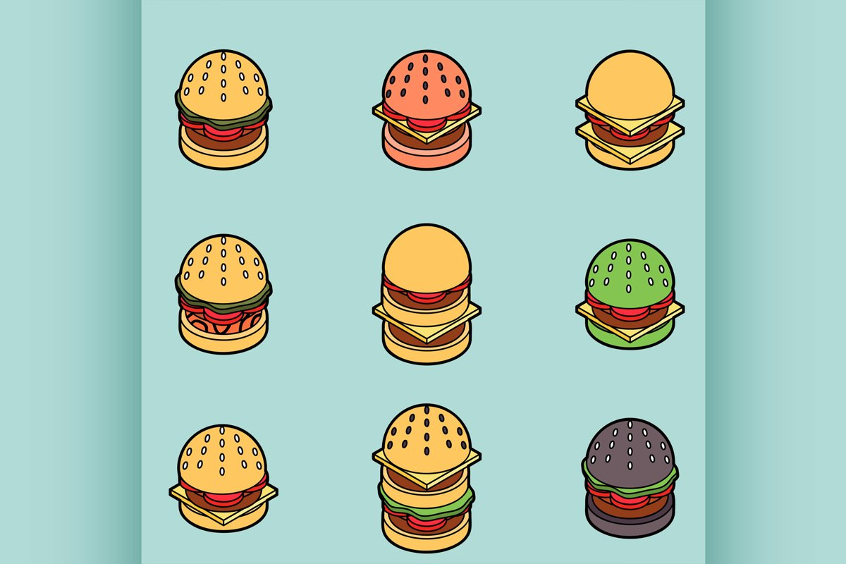 Burgers color outline isometric icons example image 1