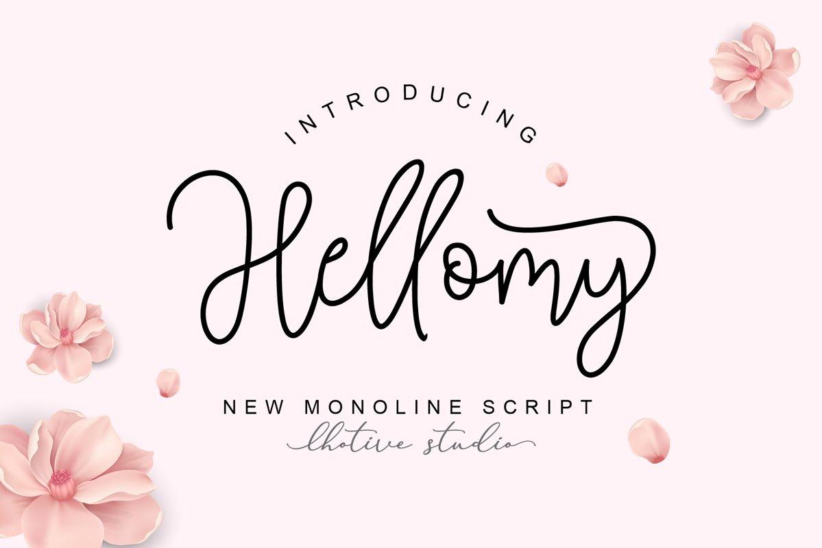 Hellomy Monoline Script example image 1