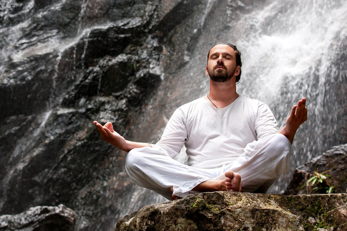 Man doing meditation yoga example image 1