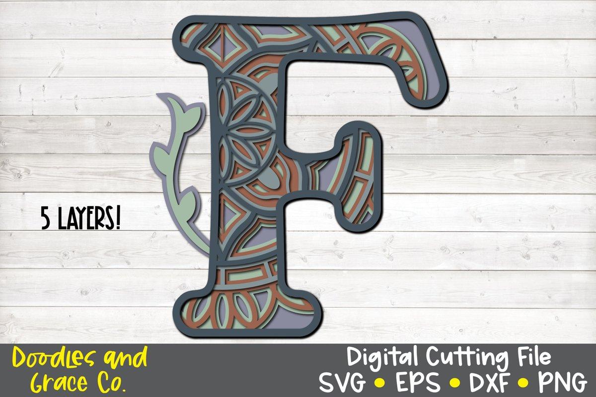 Letter F 3D Layered Alphabet Mandala SVG - EPS - PNG - DXF example image 1