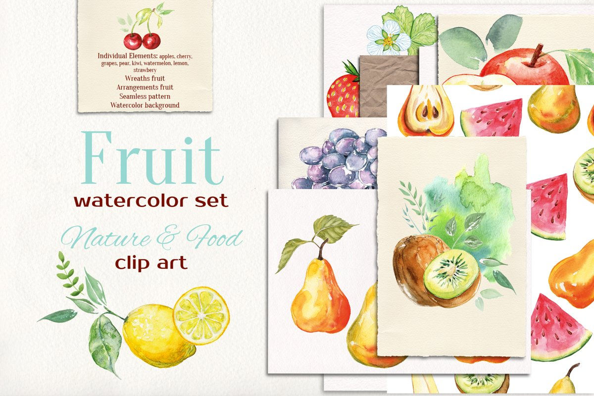 Fruits watercolor collection example image 1