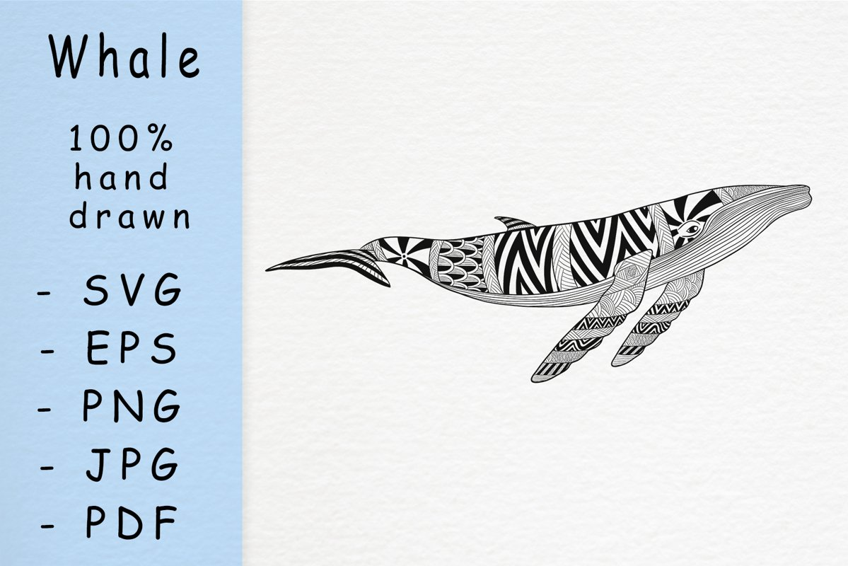 Hand drawn whale with patterns example image 1
