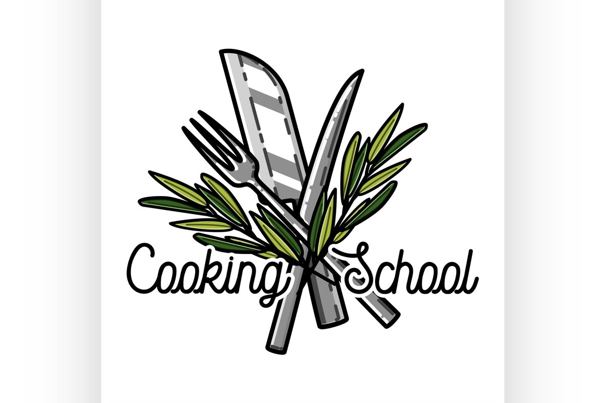 Color vintage cooking school emblem example image 1