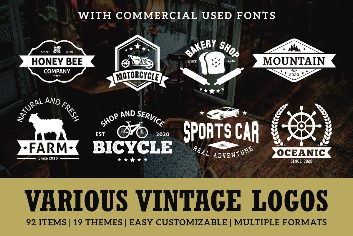 Various Vintage Logo Template Bundle example image 1