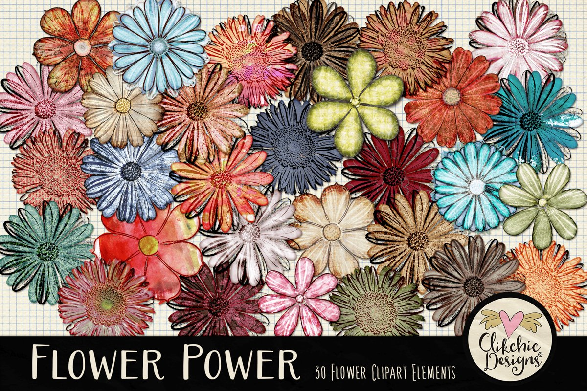 Flower Clipart Elements - Flower Digital Scrapbook Elements example image 1