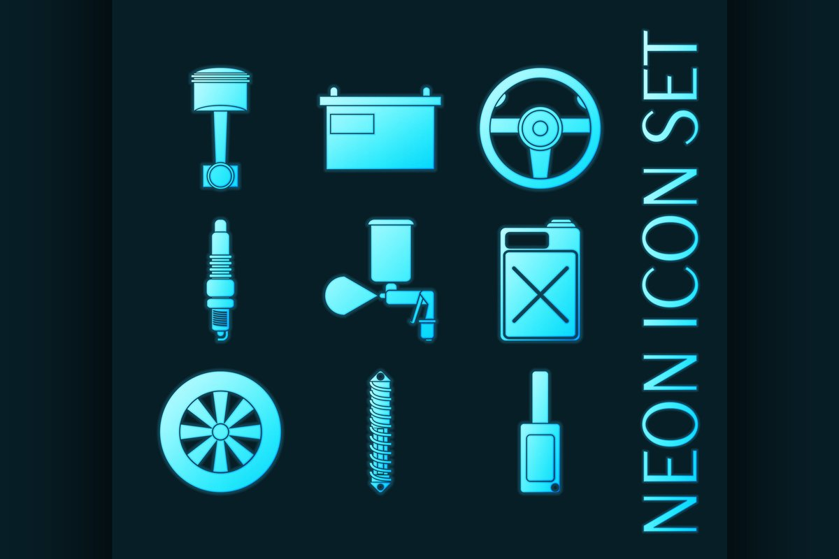 Set of car service glowing neon icons example image 1