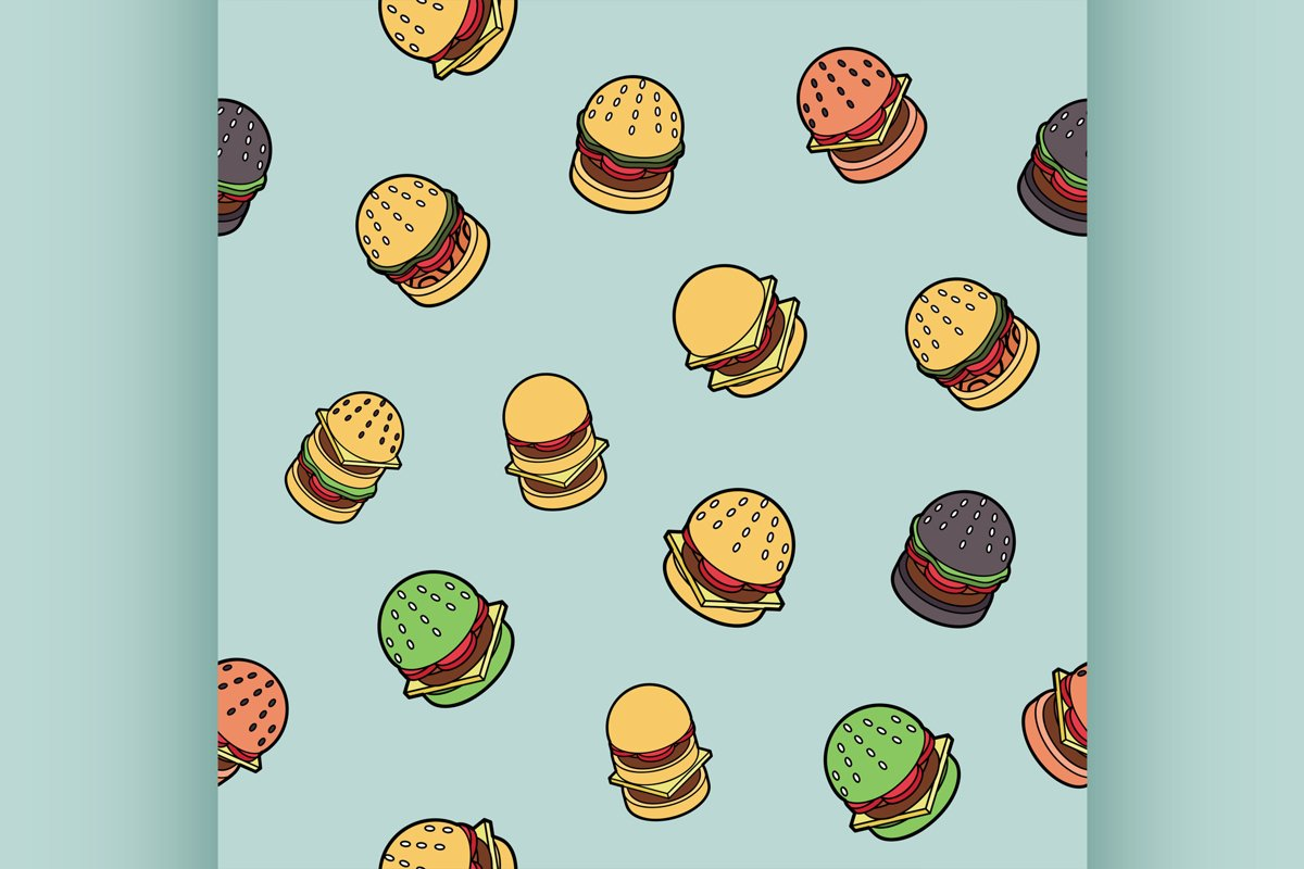 Burgers color outline isometric pattern example image 1