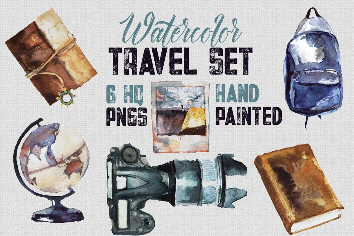 Watercolor Travel Set - 6 Handpainted elements, HQ PNG files example image 1