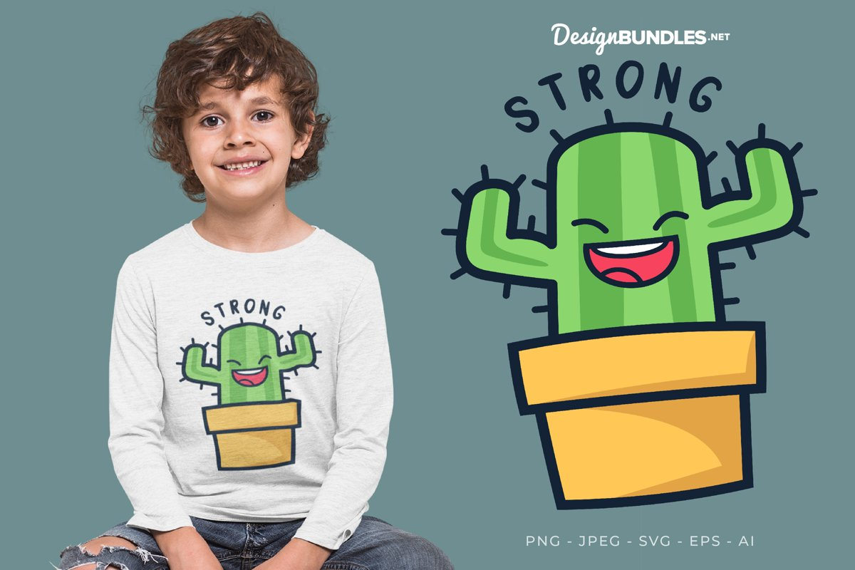 Strong Cactus Vector Illustration For T-Shirt Design example image 1