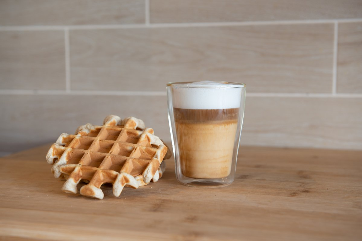 multilayer coffee or cappuccino in a glass cup example image 1