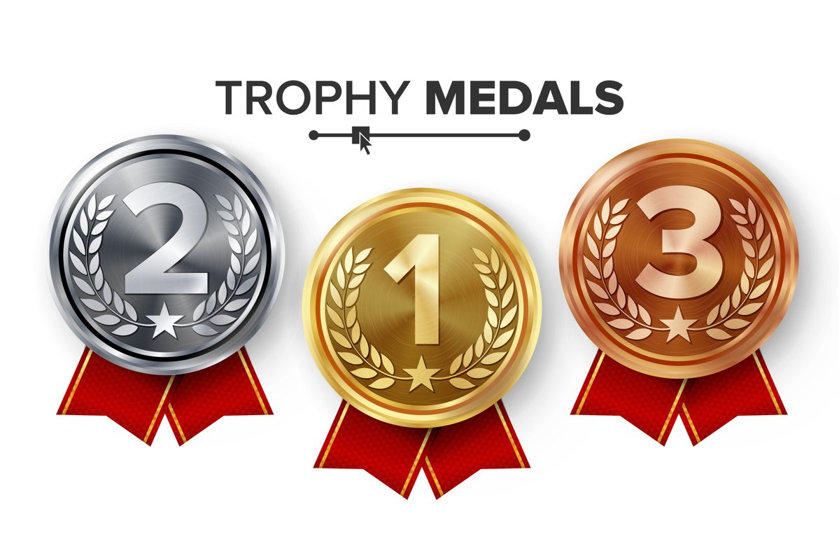 Gold, Silver, Bronze Medals Set Vector. example image 1