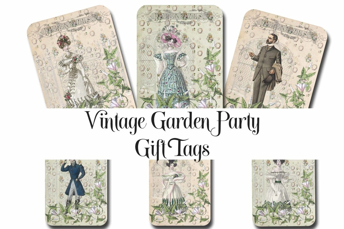 Vintage Garden Party Printable Tags - ATC cards example image 1