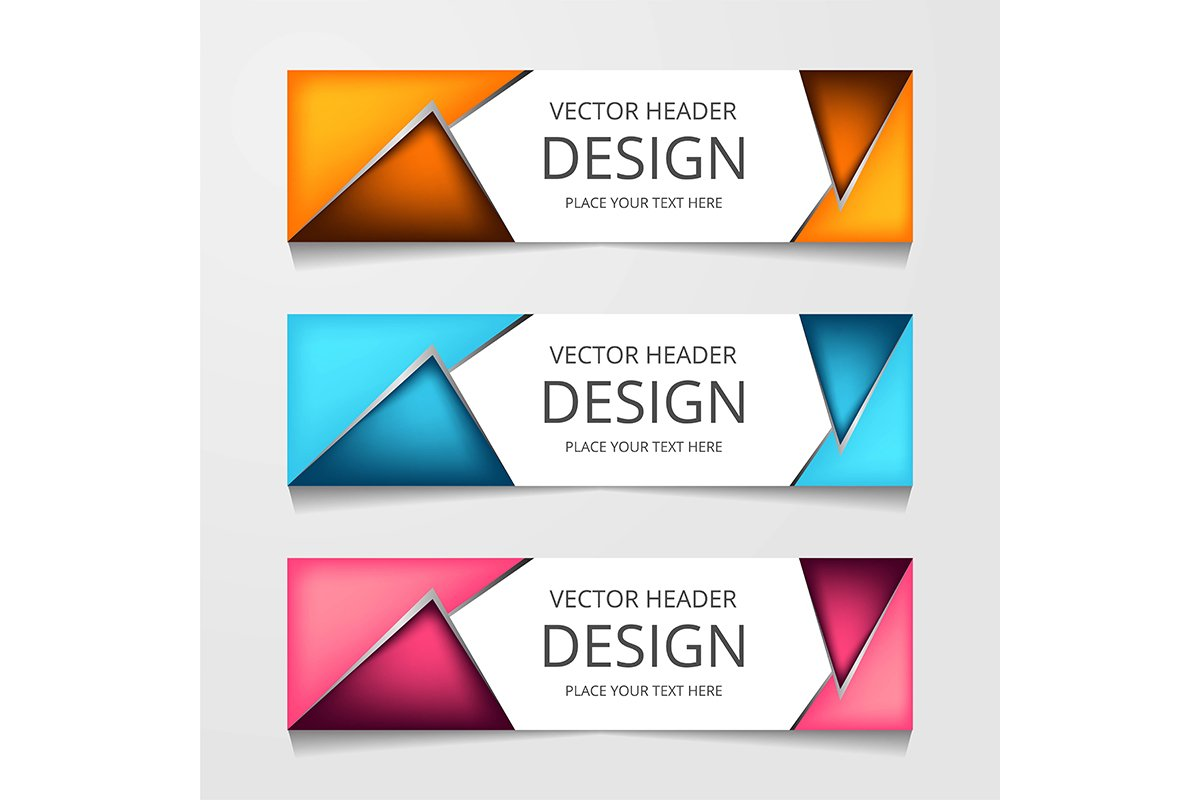 Vector abstract web banner design template. Collection of we example image 1