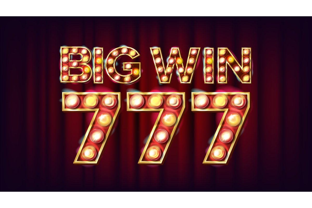 Big Win 777 Banner Vector. Casino 3D Glowing Element. For example image 1