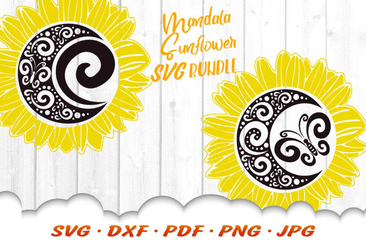 Mandala Spiral Butterfly Sunflower SVG DXF Cut Files Bundle example image 1