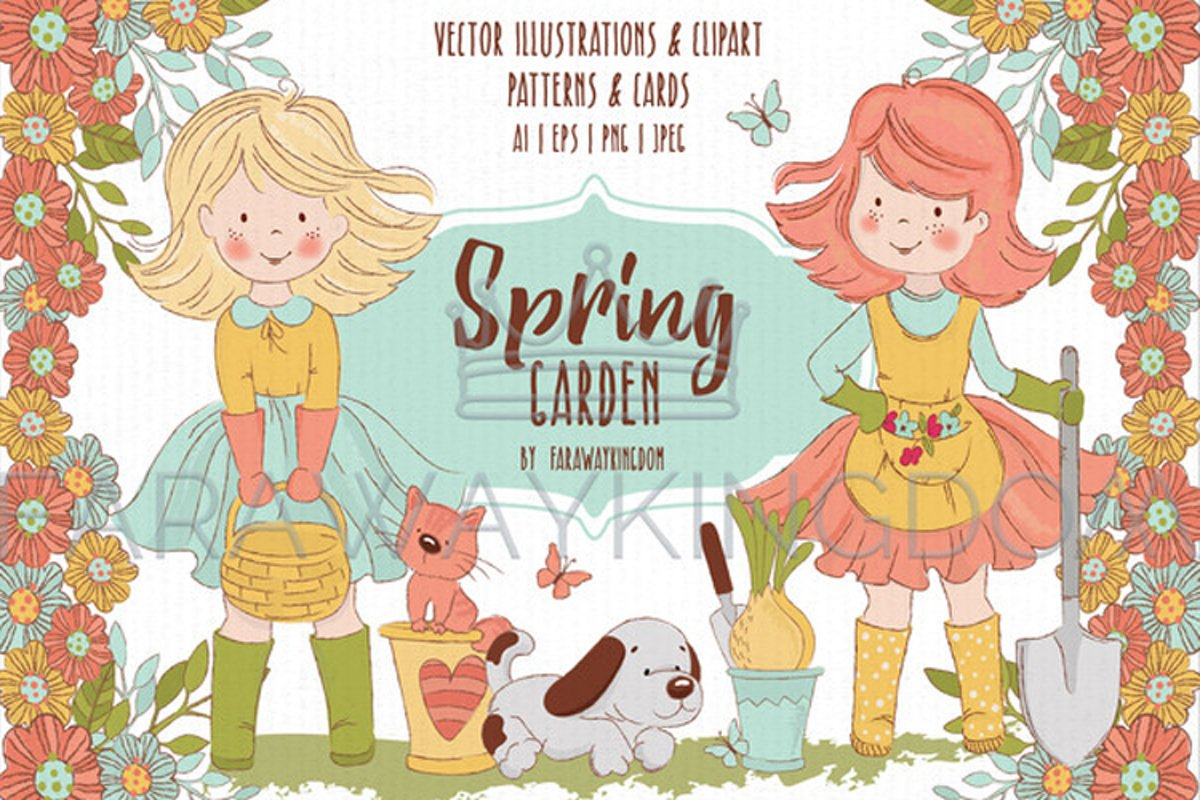 SPRING GARDEN Woman Season Work Vector Illustration Set example image 1