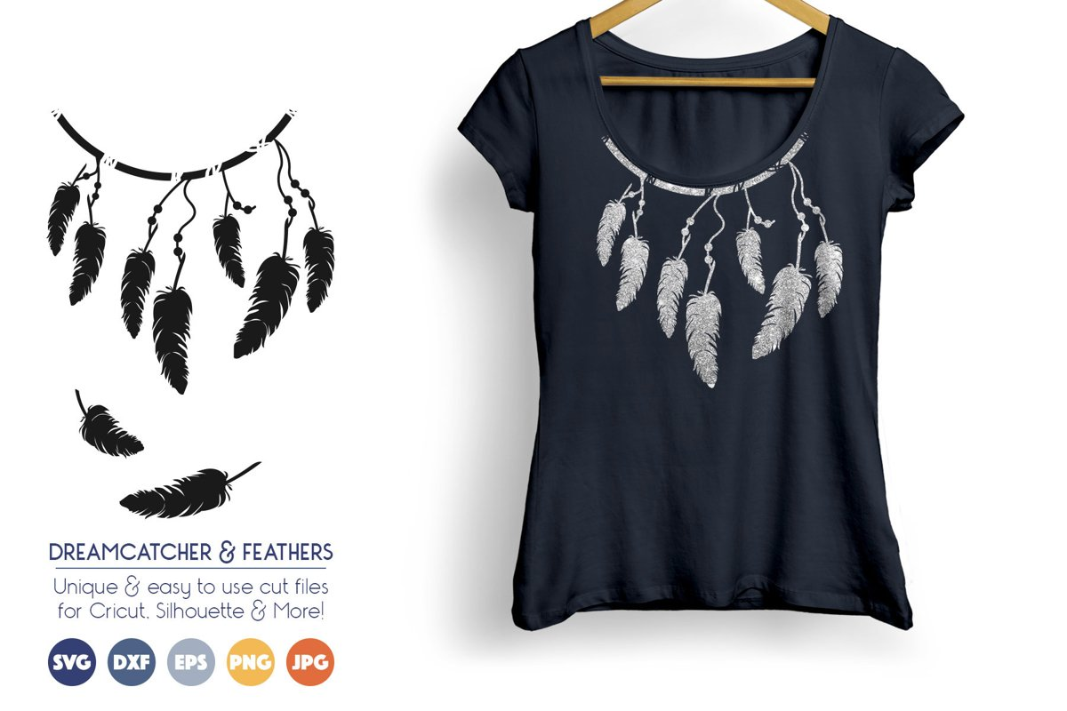 Dreamcatcher and Feathers SVG - Boho, Tribal example image 1