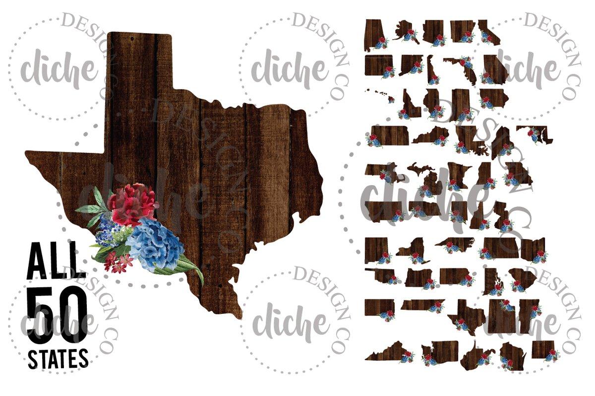 Floral State Sublimation Design Bundle example image 1