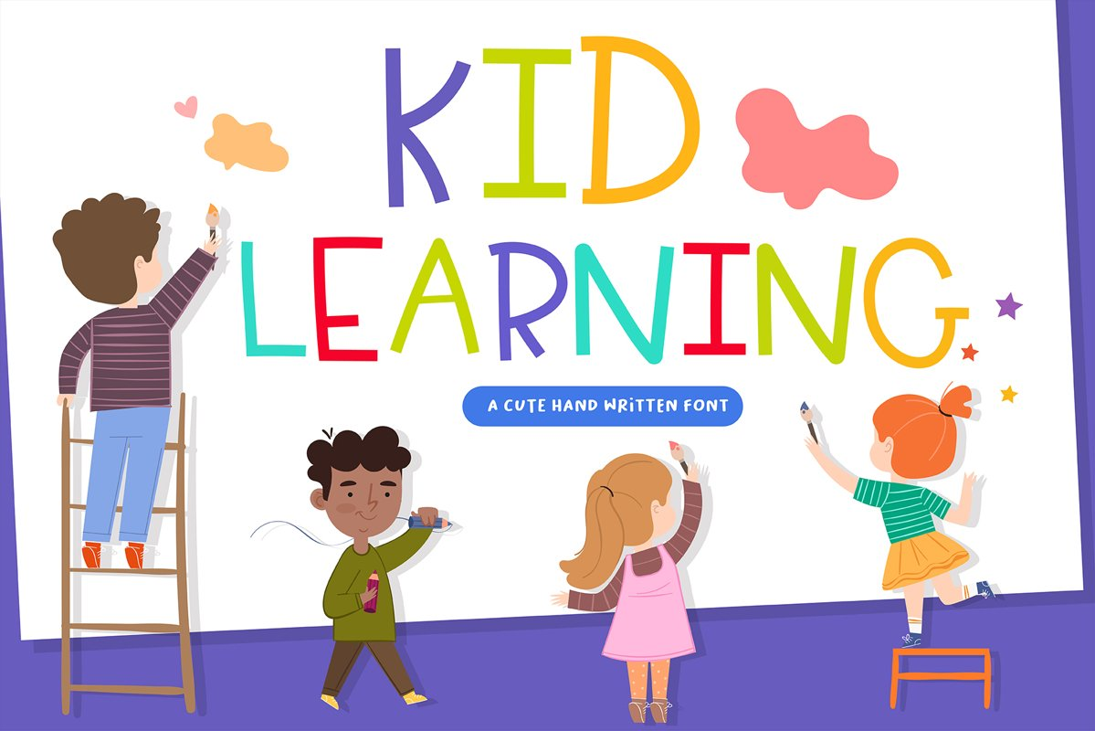 Kid Learning Handwritten- cute kid font Kawaii style! example image 1
