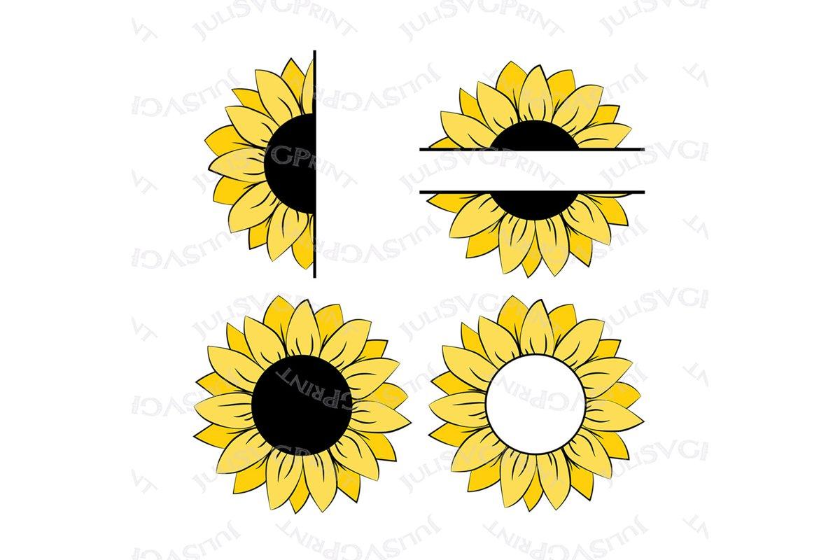 Sunflower svg Monogram Half Sunflower PNG clipart cut file ... (1200 x 800 Pixel)