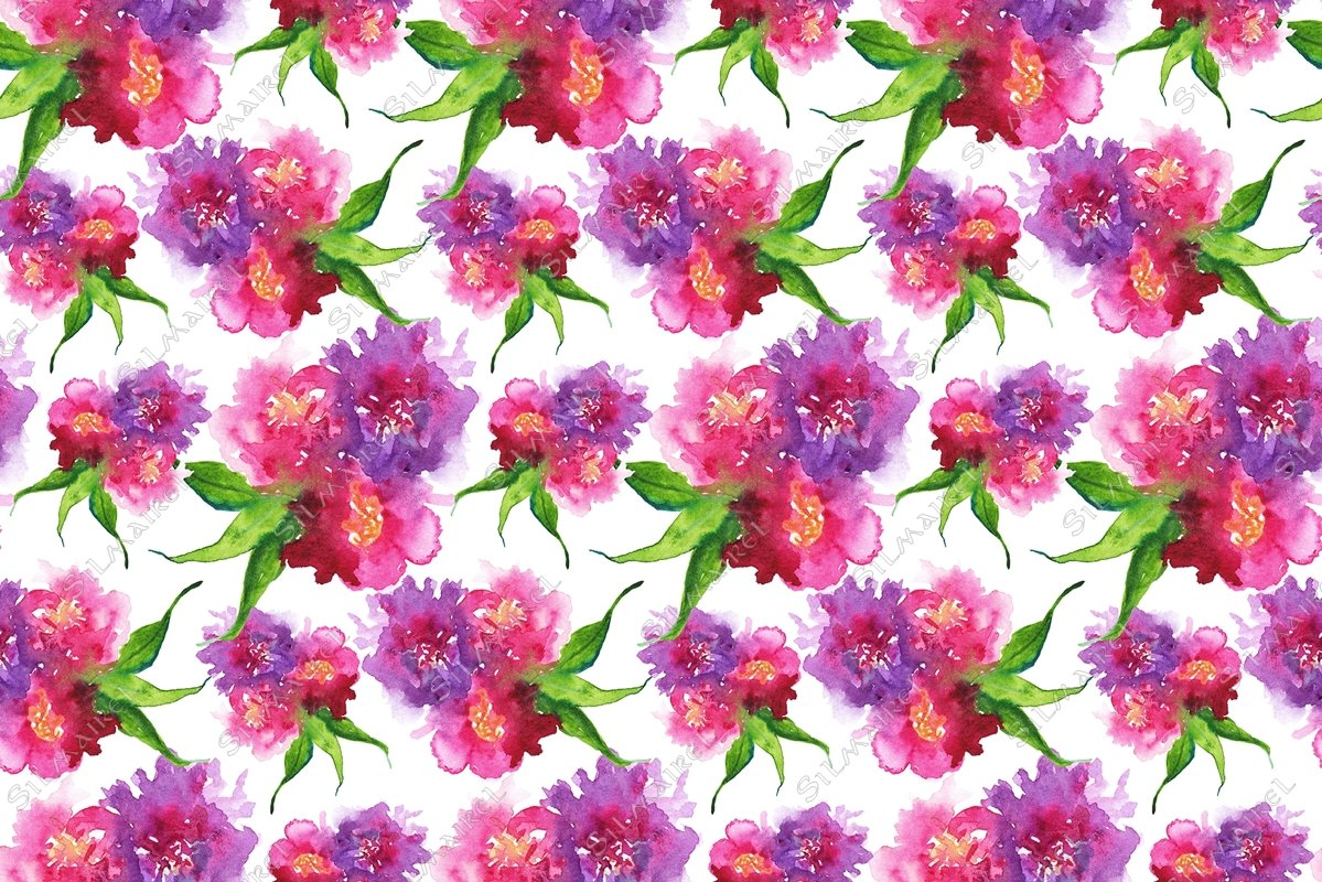 Watercolor flower floral peony rose seamless pattern texture example image 1