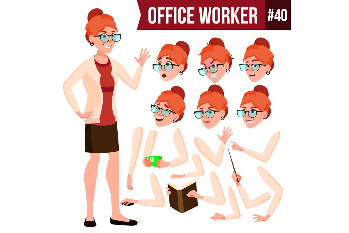 Office Worker Vector. Woman. Modern Employee example image 1