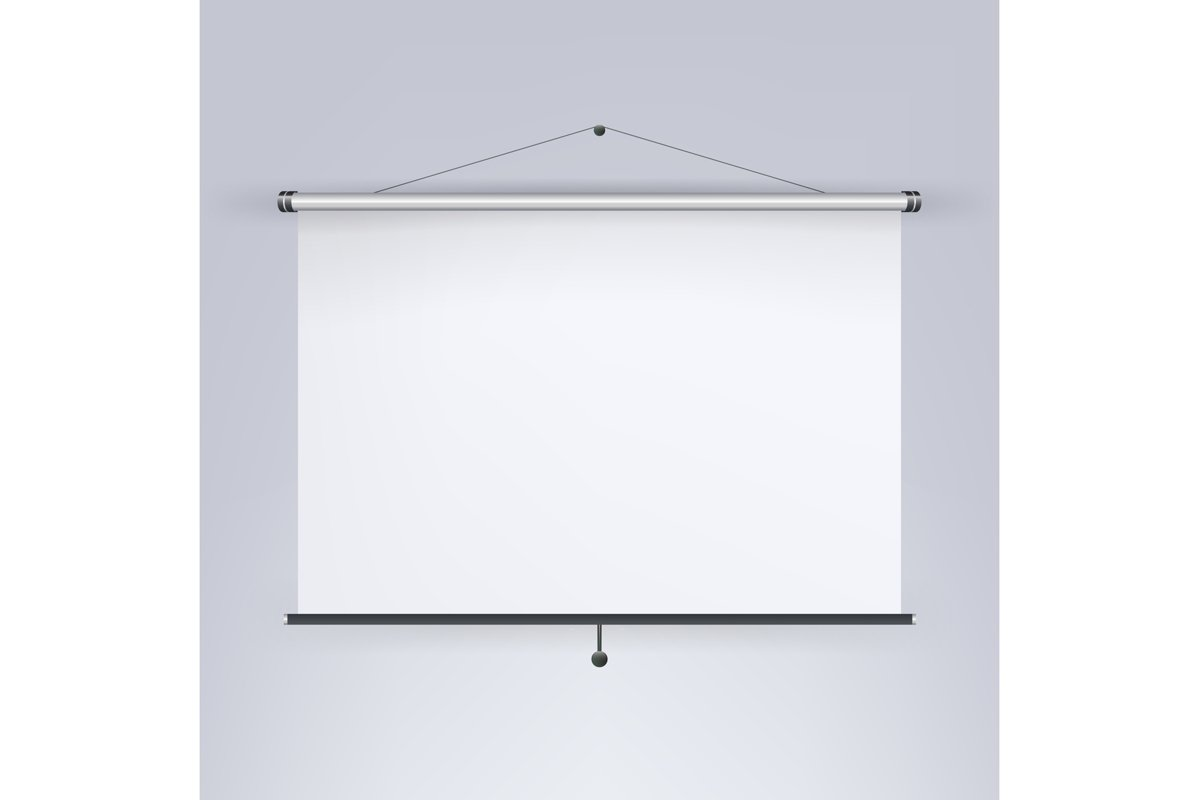 Meeting Projector Screen Vector. Blank White Board example image 1