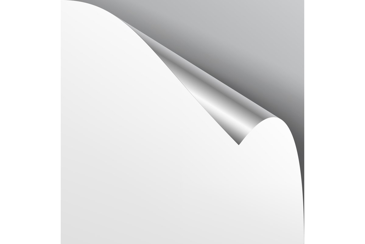 Curled Silver Metalic Corner Vector. Paper with Shadow Mock example image 1