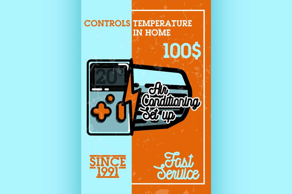 Color vintage air conditioning banner example image 1