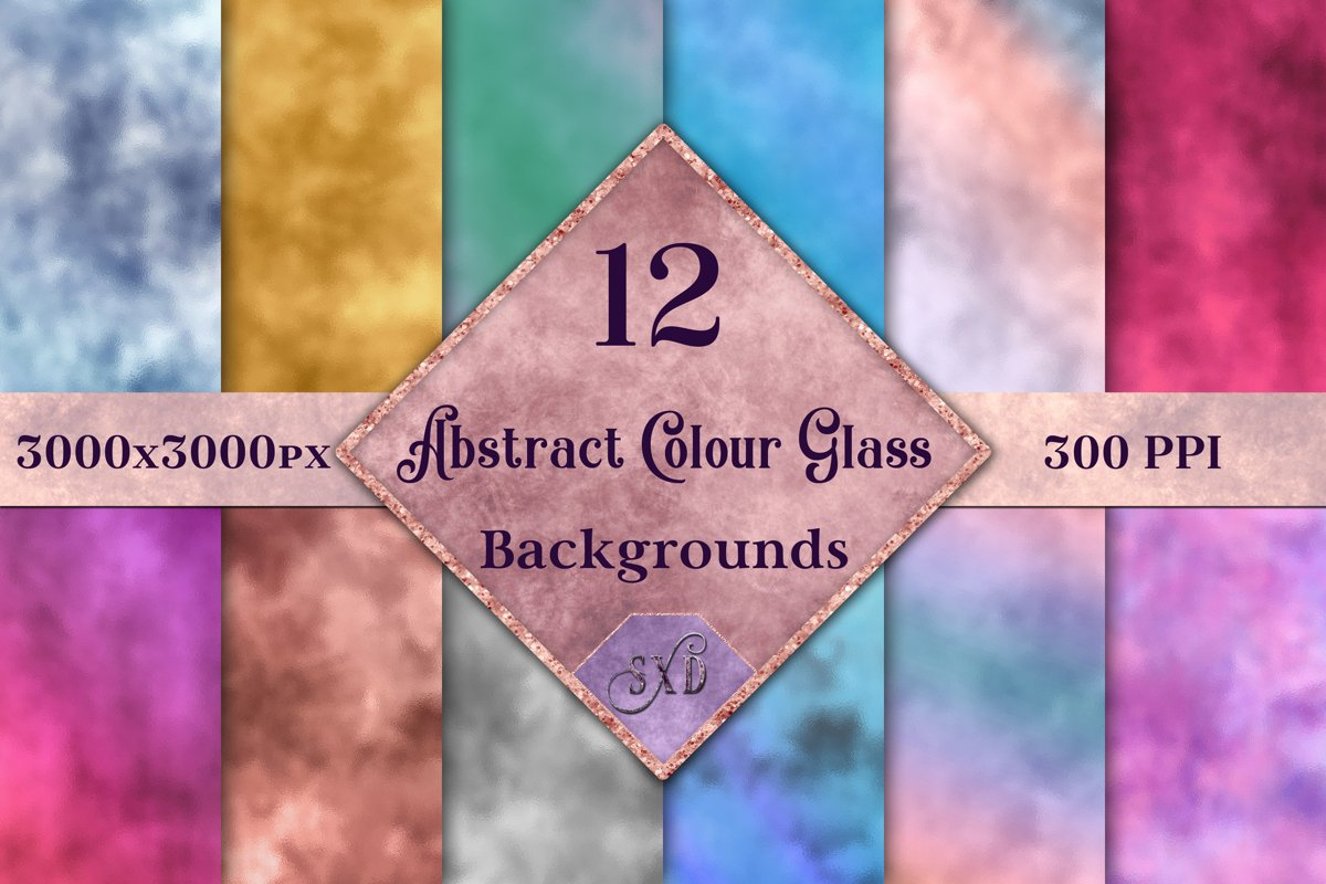 Abstract Colour Glass Backgrounds - 12 Image Textures Set example image 1