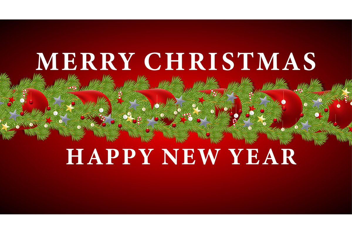 Merry Christmas and Happy New Year. Vector ornament with red example image 1