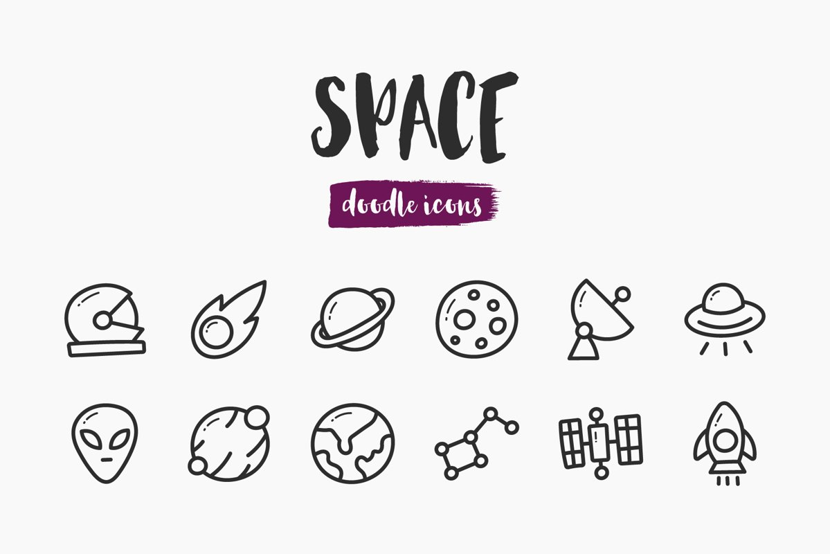 Space Hand-Drawn Doodle Icons example image 1