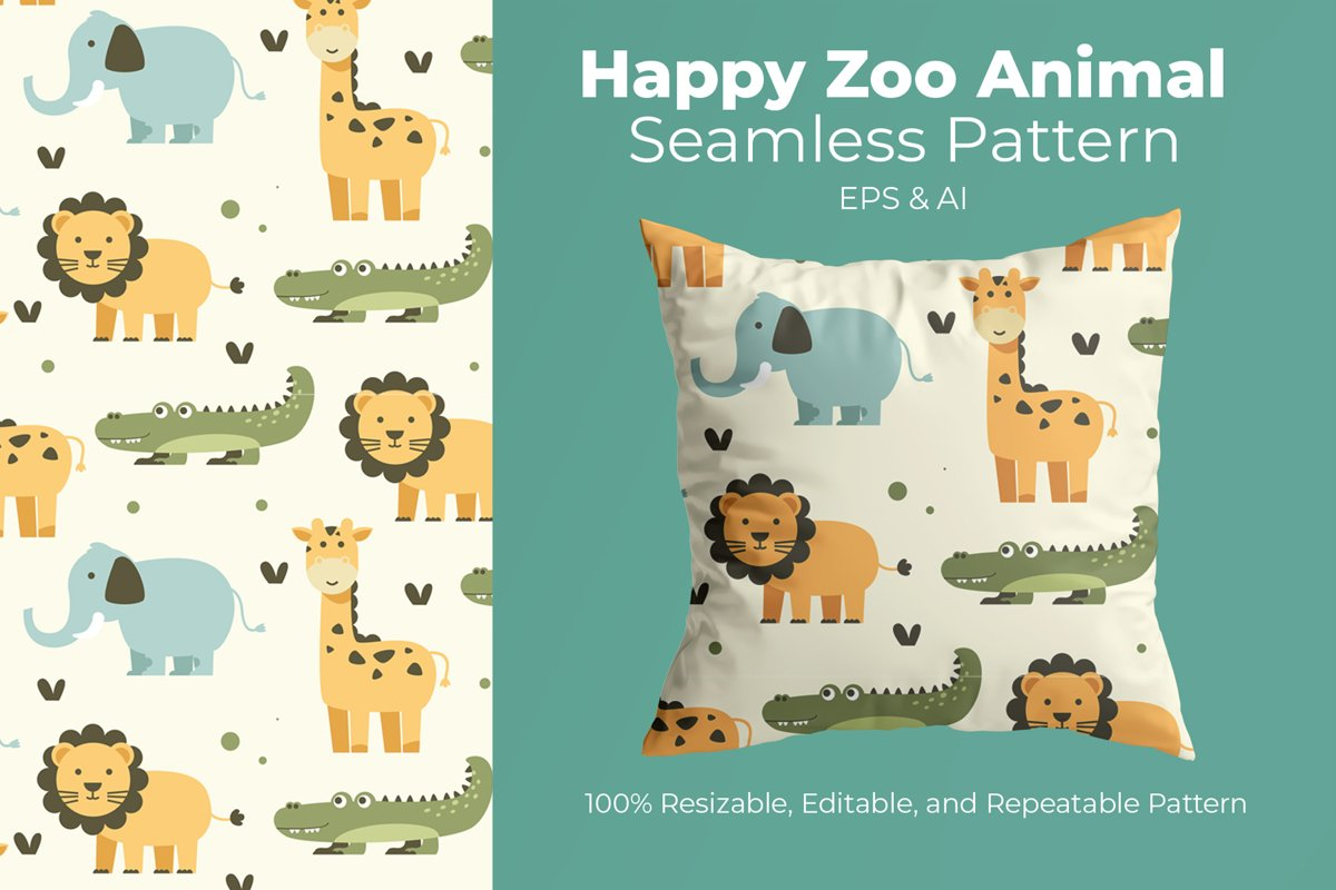 Happy Zoo Animal - Seamless Pattern example image 1