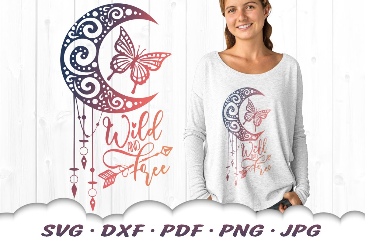 Wild And Free Dreamcatcher Butterfly SVG DXF Cut Files example image 1