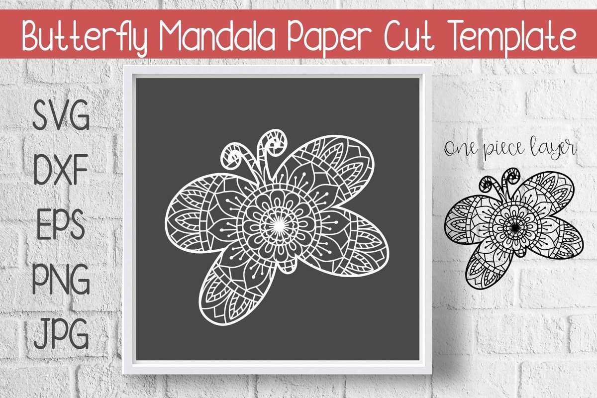 Butterfly Mandala Paper Cut Template Design SVG example image 1