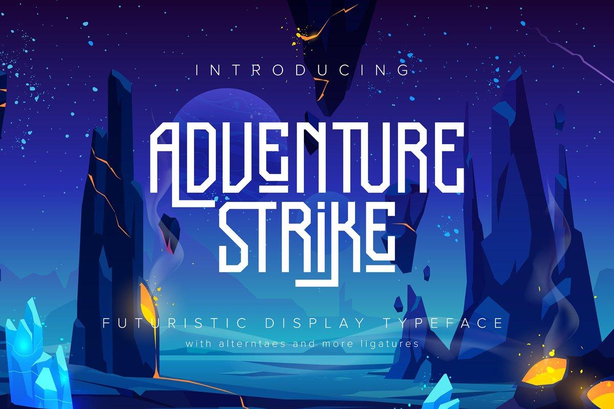 Adventure Strike   Futuristic Display Typeface example image 1