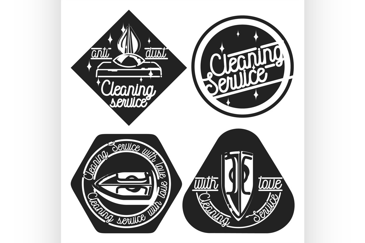 Vintage cleaning service emblems example image 1