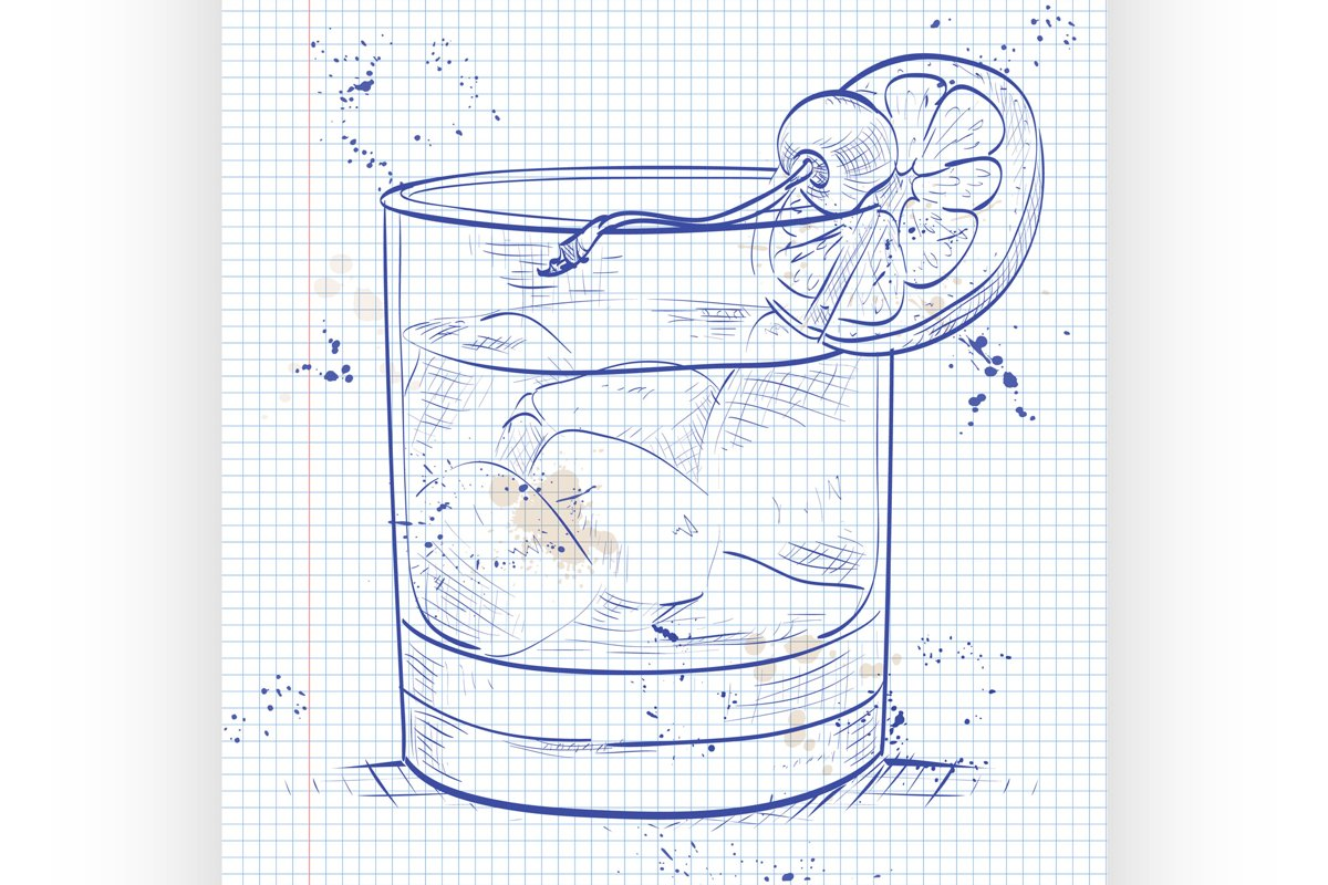 Old fashioned cocktail on a notebook page example image 1