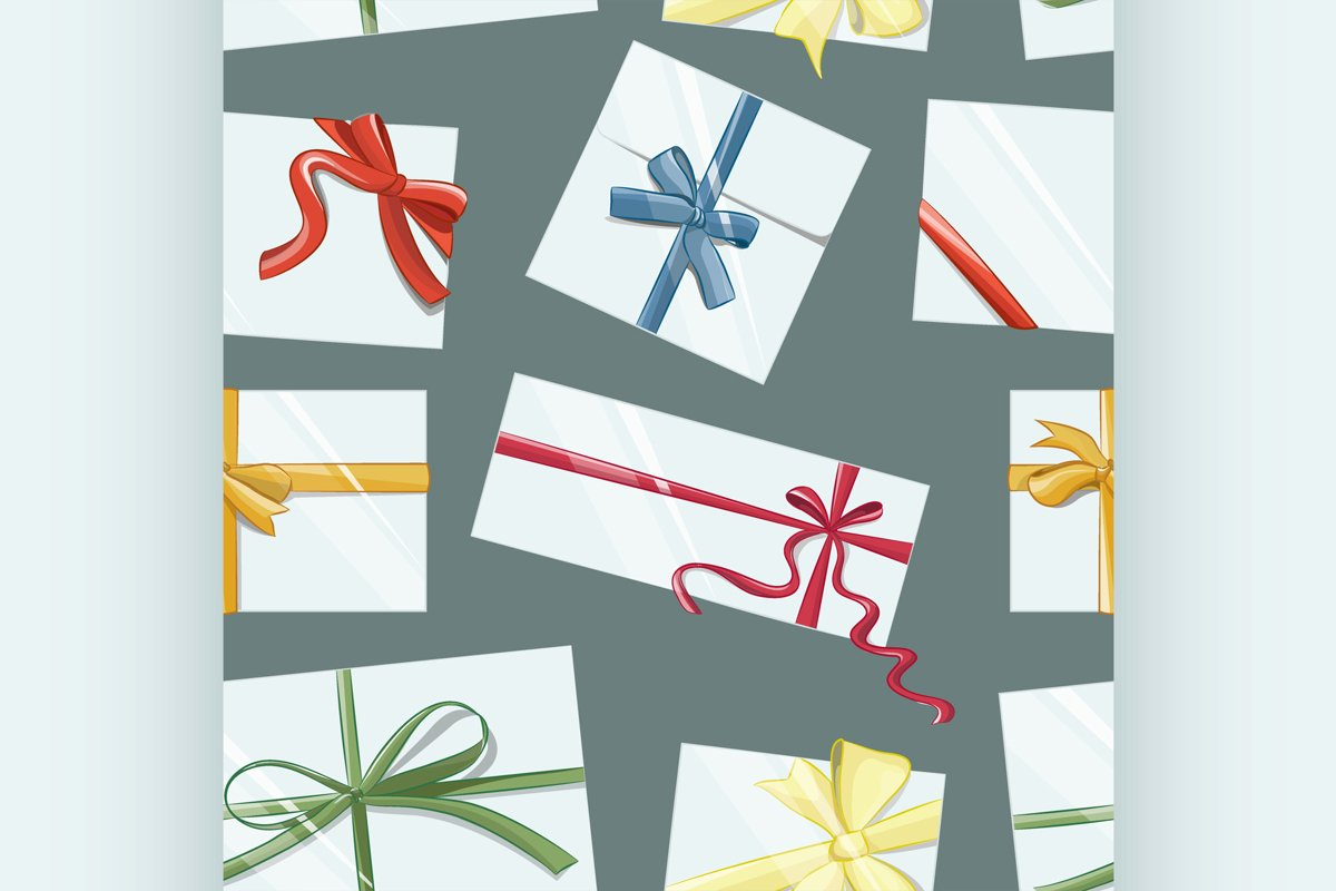 Gift cards with bows vector set pattern example image 1
