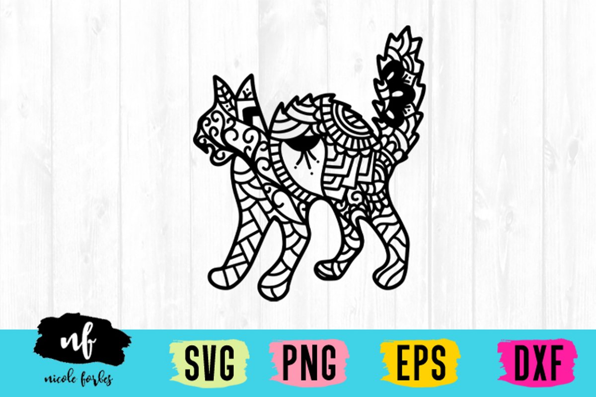 Scary Cat Zentagle SVG example image 1