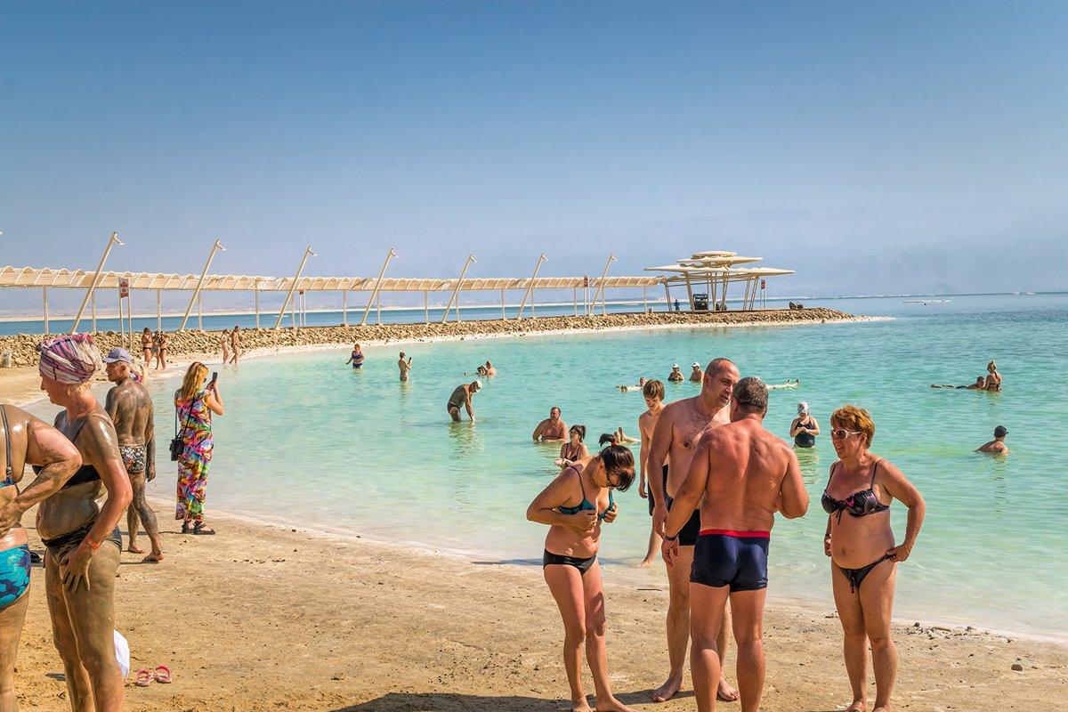 Wellness beach at Ein Bokek resort in Israel. Dead Sea Coast example image 1
