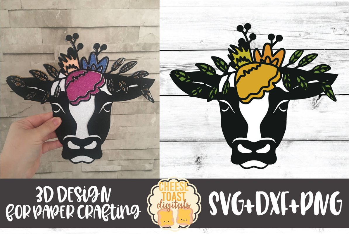 3D SVG | Cow with Floral Crown example image 1
