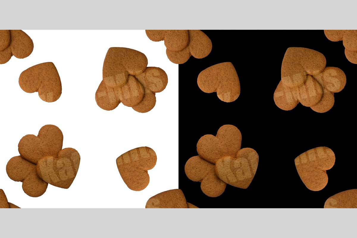 black and white seamless patterns of heart shaped cookies example image 1
