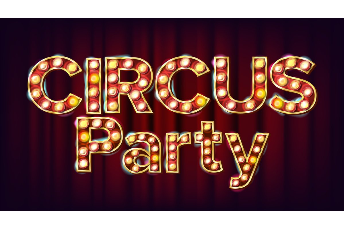 Circus Party Banner Sign Vector. For Traditional Design. example image 1
