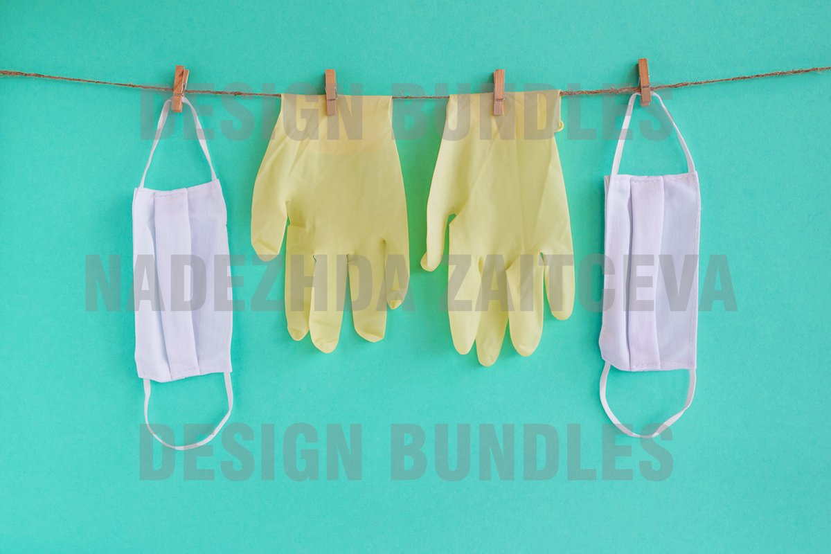 Drying of medical masks and disposable gloves after washing. example image 1