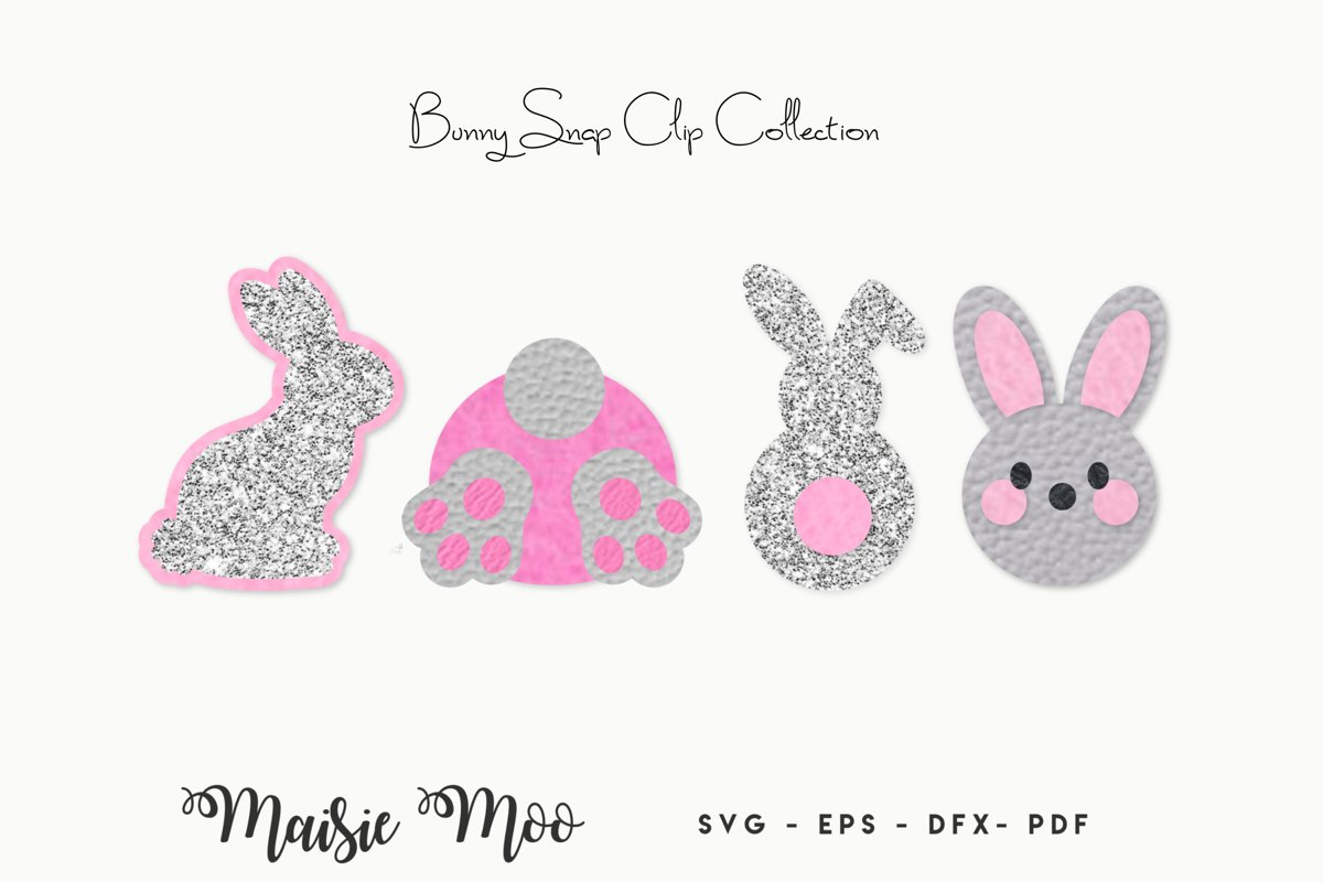 Easter Snap Clip SVG, Bunny Snapclip Template, Bow Template, example image 1