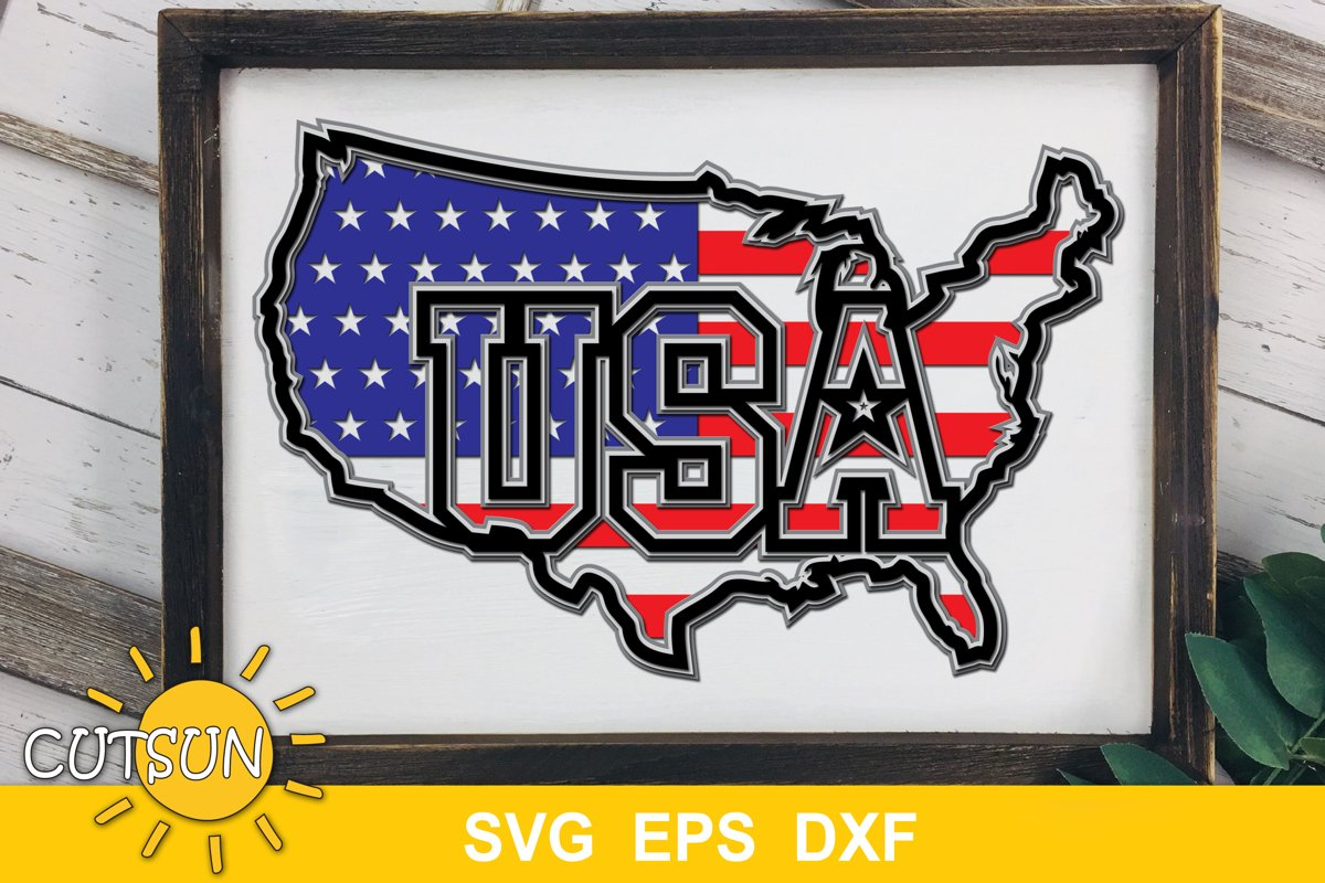 America map with a flag layered design | USA flag in a map example image 1