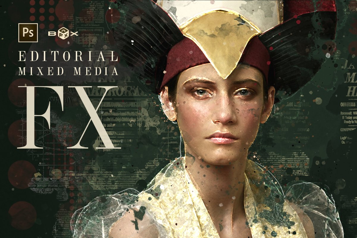 Editorial Mixed Media FX - Photoshop Add-On Extension example image 1