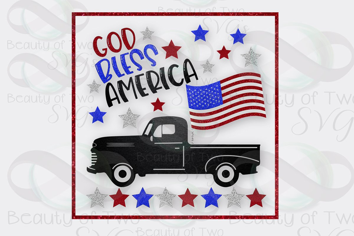 God Bless America Sublimation Design 4th of July 300 dpi png example image 1