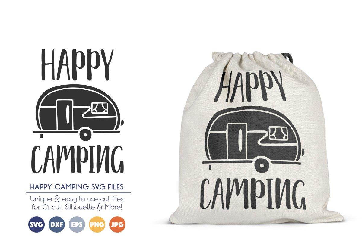 Happy Camping SVG Cut Files - Retro RV SVG example image 1